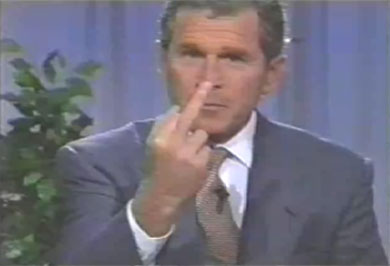 George Bush giving the finger