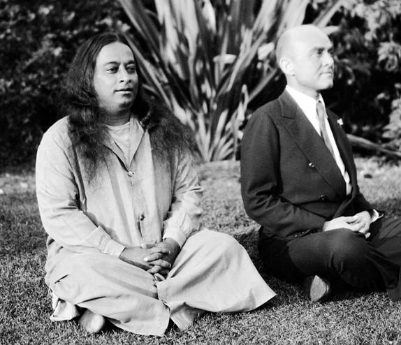 Parahamansa Yogananda, founder of Self Realization Fellowship, meditating with James L. Lynn who became the 2nd President of SRF. (Courtesy of Self-Realization Fellowship, Los Angeles, Calif.)